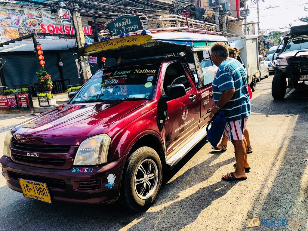 songthaew - viajar a koh samui